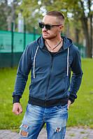 Мужская стильная кофта на молнии с капюшоном