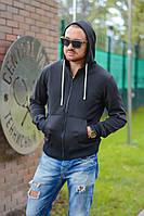 Мужская стильная черная кофта на молнии с капюшоном