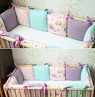 Подушечка - бортик для детской кроватки «Совушки»