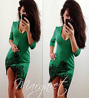 Красивое нарядное платье низ с перфорацией (синее, зеленое, черное, красное)