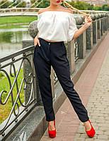 """Стильные женские брюки """"Черный Барбадос"""" из костюмной ткани"""