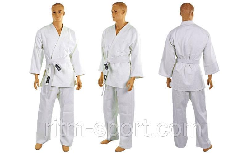 Кимоно для дзюдо белое (рост от 120 см до 200 см, плотность 450 г/м2)
