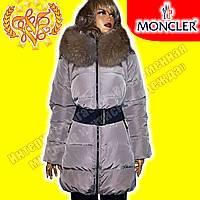 Женский брендовый пуховик Moncler 19126 beige