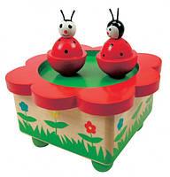Музык. шкатулка, танцующие божьи коровки Деревянные развивающие игрушки