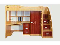 Двухъярусная кровать чердак со столом и шкафом, Уголок школьника Каспер-1, Даниро