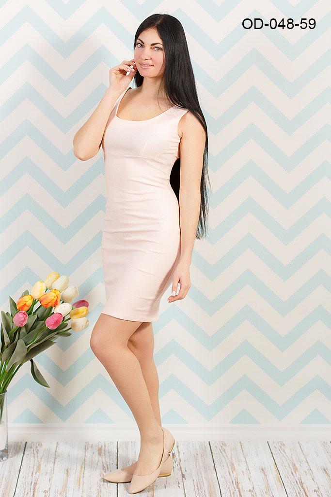 Приталенное платье из стрейч-льна  48р
