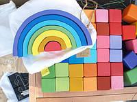 Развивающие кубики цветные из натурального дерева