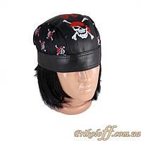 Бандана пирата черная, кожаная