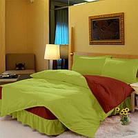 Комплект постельного белья с цельной простынью - подзором Салатовый + Винный