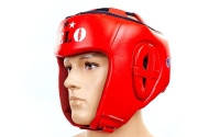 Шлем боксерский профессиональный кожа AIBA VELO 3080(р-р S-XL, красный)