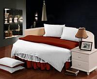 На Круглую кровать. Постельное белье в комплекте с цельной простынью - подзором Белый + Винный