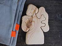 Развивающая игрушка пазл дерево Дубок из натурального дерева в мешочке