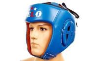 Шлем боксерский профессиональный кожа AIBA VELO 3080(р-р S-XL, синий)