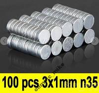 Магнит неодимовый 3мм х 1мм N35 1 лот=100шт.