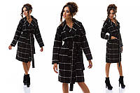 Женское пальто Плед черное