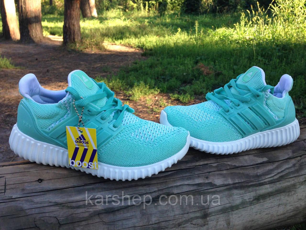 Кроссовки мятного цвета Adidas boost, реплика