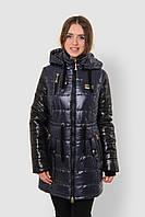 Теплая женская двухцветная приталенная зимняя  куртка с капюшоном на синтепоне 90106