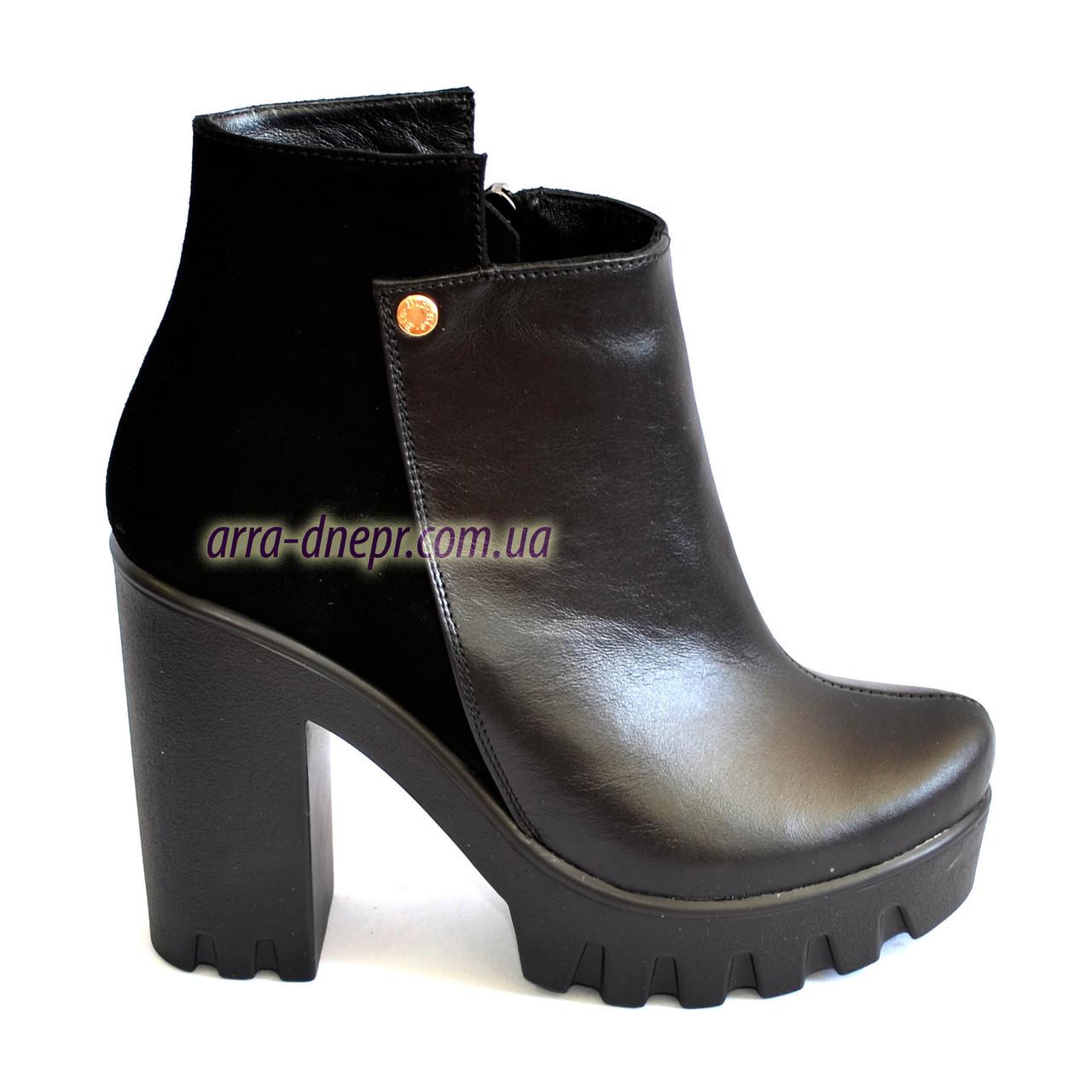 Ботинки женские черные на тракторной подошве, натуральная кожа, замш. Зимний вариант