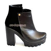 Ботинки женские черные на тракторной подошве, натуральная кожа, замш. Зимний вариант, фото 1