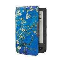 Обложка чехол для PocketBook 615/614 Basic 2/624 Basic Touch/625/640 Aqua/626 Touch Lux 2/Lux 3 Цветущий миндаль