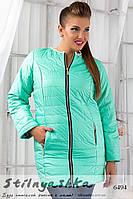 Женское демисезонное пальто из плащевки большого размера ментол