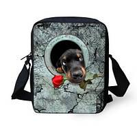 Оригинальная 3D сумка собачка с розой.