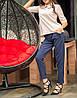 """Элегантная женская блузка """"Бежевая Клементина"""" с воротничком, фото 4"""