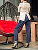 """Элегантная женская блузка """"Бежевая Клементина"""" с воротничком, фото 3"""