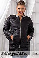 Женское демисезонное пальто из плащевки большого размера черное