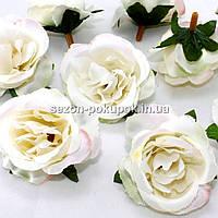 """Головы цветов """"Роза"""" d=4,5см, цена за 10 шт, цвет - айвори с розовым оттенком"""