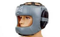Шлем боксерский с бампером кожа ELAST BO-5240 (р-р M-XL, серый-черный)