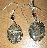 """Серебряные серьги с турителлой и раухтопазом  """"Монетка""""  от студии LadyStyle.Biz"""