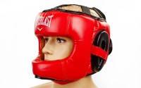 Шлем боксерский с бампером кожа ELAST BO-5240 (р-р M-XL, красный)