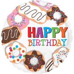 """Фольгированый шар с изображением пончиков и надписью """"Happy birthday"""""""