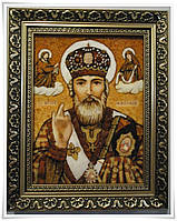 Именная икона Николай с янтарем