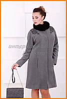 Женское элегантное пальто с мехом