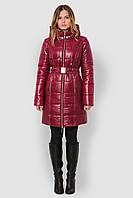 Женская теплая зимняя водонепроницаемая куртка с большим отложным капюшоном и поясом 90109
