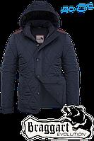 Мужская темно-синяя осенняя куртка с латками Braggart арт. 1275
