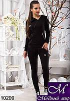 Женский черный спортивный костюм с капюшоном арт. 10209