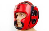Шлем боксерский с полной защитой кожа EVERLAST (р-р M-XL, красный)