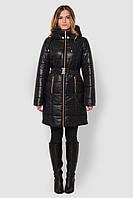 Женская теплая зимняя водонепроницаемая куртка с большим отложным капюшоном и поясом 90109/1