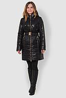 Зимняя стеганая водонепроницаемая женская куртка на двойном синтепоне и флисовой подкладке 90110