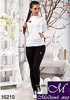 Женский черно-белый спортивный костюм с капюшоном арт. 10210