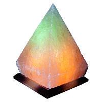 """Cертифицированный соляной светильник """"Пирамида"""" 5-6кг с цветной лампочкой из солотвинской соли """"Соликом"""""""