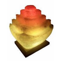 """Cертифицированный соляной светильник """"Пагода"""" 5-6кг с цветной лампочкой из солотвинской соли """"Соликом"""""""