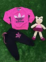 Розовый турецкий спортивный трикотажный костюм для подростка без змейки Adidas