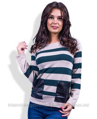 Кофточка  женская полоска с карманами