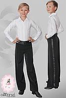 Брюки для танцев с высоким  атласным поясом и широкими лампасами