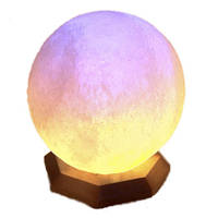 """Cертифицированный соляной светильник    """"Шар"""" 7-8 кг с цветной лампочкой из солотвинской соли """"Соликом"""""""