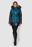 Зимняя женская двухцветная водонепроницаемая парка с натуральным мехом на двойном синтепоне  90116/2